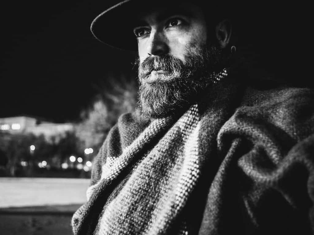 bald and beard - man in hat with a beard