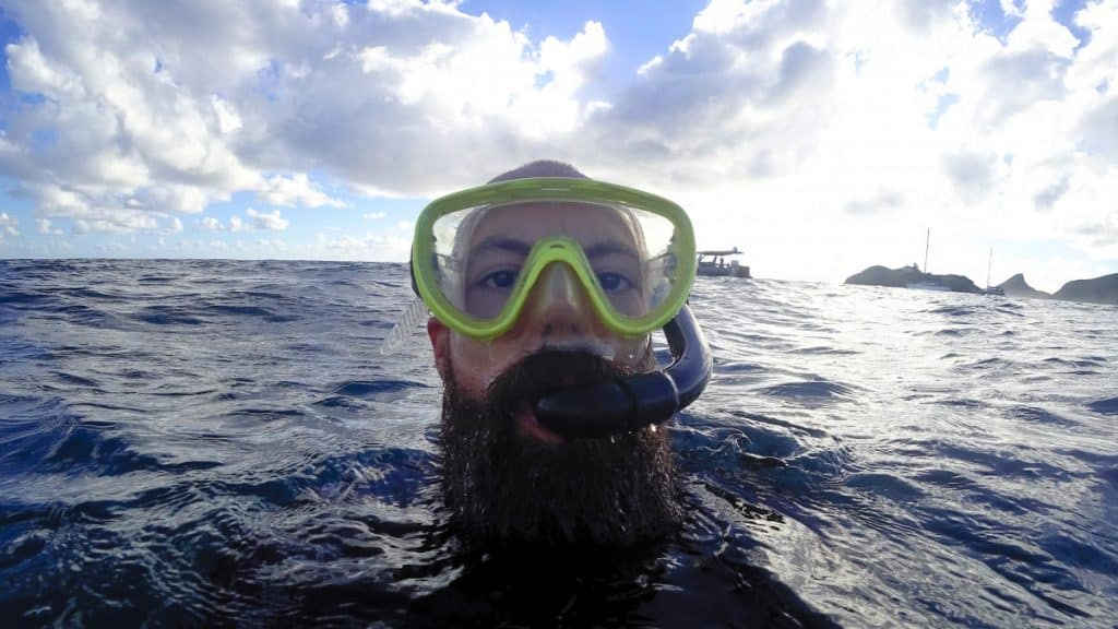 Can you snorkel with a beard? Me on Lord Howe Island